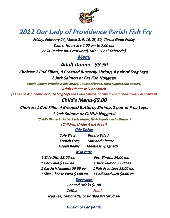 Where are you eating dinner this friday simpson bbq for Fish fry menu