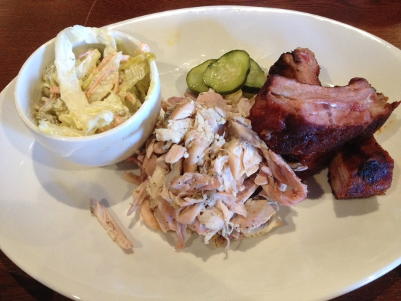 Dad's lunch: chicken ribs and slaw (and also some pickles)