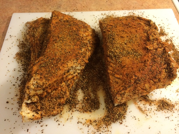 Well-rubbed corned beef brisket